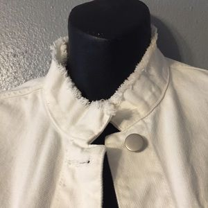 a new day Jackets & Coats - A New Day Frayed Collar White Denim Jacket